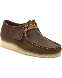 Clarks Originals Wallabee Mens Beeswax Leather Shoes - Brown