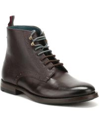 Ted Baker - Mens Dark Red Leather Dhavin Brogue Boots - Lyst