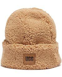 UGG Sherpa Cuff Brown Beanie Hat