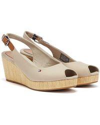 Tommy Hilfiger Elba Sling Back Wedge Sandals - Natural
