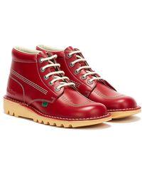 Kickers Kick stiefel aus rotem Leder