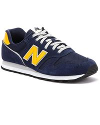 New Balance 373 Mens Navy / Yellow Trainers - Blue