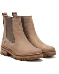 Timberland Courmayeur Valley Womens Gray Chelsea Boots - Brown
