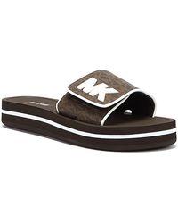 Michael Kors Logo Platform Slides - Brown