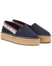 Tommy Hilfiger Tommy Jeans Repeat Logo Flatform Womens Navy Espadrilles - Blue