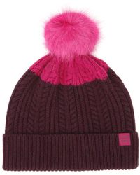 Joules - Ruby Purple Knitted Bobble Hat - Lyst