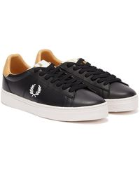 Fred Perry Spencer Leather Baskets Noir / Blanc Pour