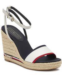 Tommy Hilfiger Elena Ribbon Womens Rwb Wedge Sandals - White