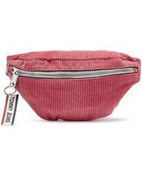 Tommy Hilfiger Tommy Jeans Logo Tape Claret Red Corduroy Bum Bag