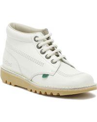 Kickers Womens White Leather Kick Hi Boots