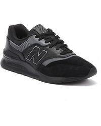 New Balance 997 Mens Black Leather Sneakers