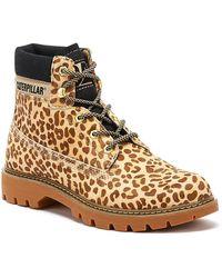 Caterpillar Lyric Womens Tan Cheetah Boots - Brown