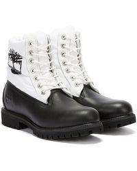 Timberland 6 Inch Premium Puffer / White Boots - Black