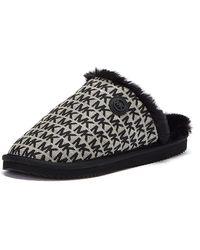 Michael Kors Janis Faux Fur-lined Logo Jacquard Slipper - Black
