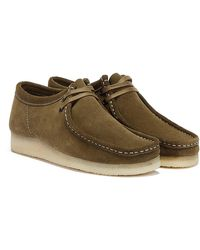 Clarks Wallabee Mens Khaki Shoes - Natural