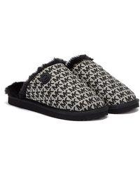 Michael Kors Janis Jacquard Logo Pantoufles Noires Pour