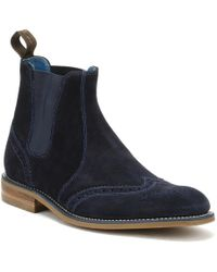 Loake - Mens Navy Suede Hoskins Boots - Lyst