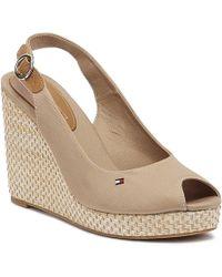 Tommy Hilfiger Elena Womens Cobblestone Wedge Sandals - Multicolour