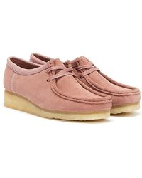 Clarks Wallabee Suede Chaussures Rose Clair Pour