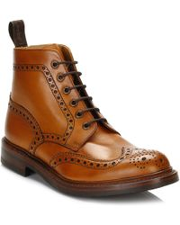 Loake - Tan Leather Wide Fit Brogue Boots - Lyst