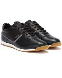BOSS by Hugo Boss Glaze Leather Emed Low Mens Black Sneakers