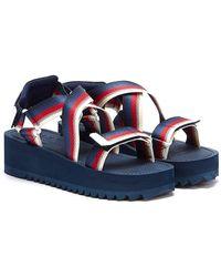 Tommy Hilfiger Tommy Jeans Degrade Tape Flatform Womens Navy Sandals - Blue