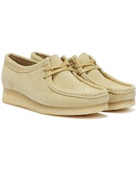 Clarks Wallabee Suede Womens Beige Shoes - Natural