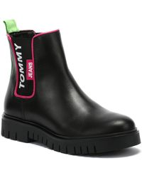 Tommy Hilfiger Tommy Jeans Chelsea Neon Detail Womens Black Boots