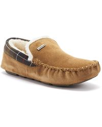 Barbour Suede Moccasin Monty Slippers - Brown