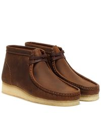 Clarks Wallabee Leather Bottes Marron En Cire D'abeille Pour