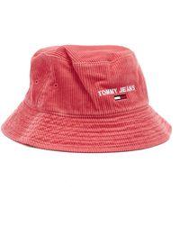 Tommy Hilfiger Corduroy Claret Red Bucket Hat