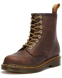 Dr. Martens Dr. Martens 1460 Crazy Horse Aztec Leather Ankle Boots - Brown
