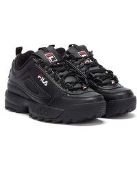 Fila Disruptor II Premium Schwarzer Leder Sneaker