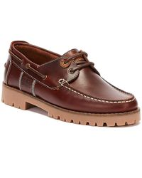 Barbour Barbour Stern Smooth Leather Mahogany Boat Shoes - Brown