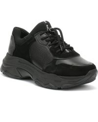 Bronx Baisley Womens Black Leather Chunky Trainers
