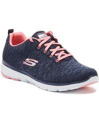 Skechers Flex Appeal 3.0 Womens Navy / Pink Trainers - Blue