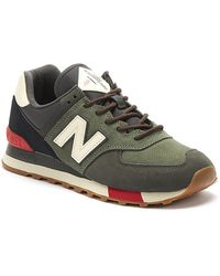 New Balance 574 Mens Green / Red Sneakers