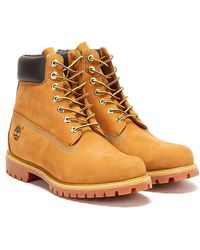 Timberland Wheat Premium 6 Inch Nubuck Leather Boots - Brown