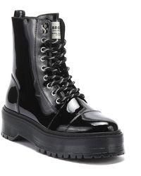Bronx Rifka Womens Black Platform Patent Leather Boots