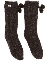 UGG Crew Pom Pom Fleece Lined Dark Socks - Grey