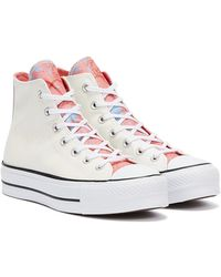 Converse Chuck Taylors All Stars Lift Hi Baskets Blanches Roses Pour