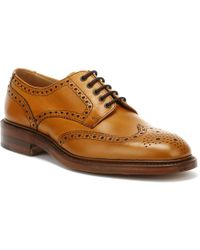 Loake Mens Tan Chester 2 Brogue Derby Shoes - Brown