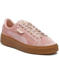 PUMA - Womens Pink / Gum Velvet Basket Platform Trainers - Lyst