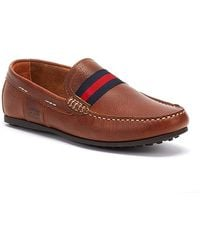 Barbour Mansell Mens Cognac Brown Leather Loafers
