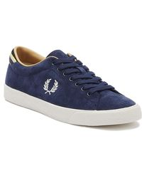 Fred Perry Underspin Mens Carbon Blue Suede Trainers