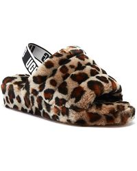 UGG UGG Fluff Yeah Womens Leopard Slippers - Brown