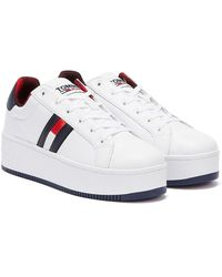 Tommy Hilfiger Tommy Jeans Iconic Flag Flatform Baskets Blanches Pour