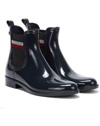 Tommy Hilfiger Corporate Elastic Rain Womens Navy Boots - Blue