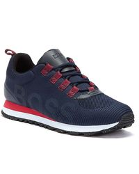 BOSS by Hugo Boss Parkour Runn Res Mens Navy / Red Sneakers - Blue