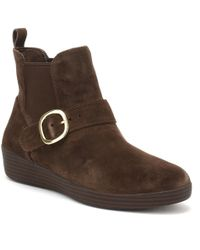 Fitflop - Womens Chocolate Brown Suede Superbuckle Chelsea Boots - Lyst